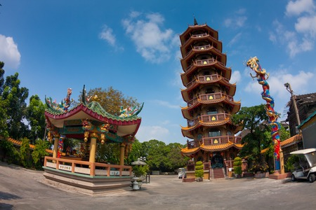 Chinese Temple with blue sky in Bangkok,Thailand at day photo