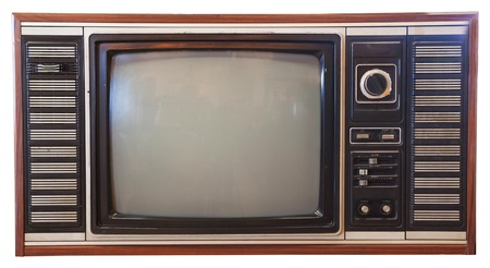 old television: vintage television isolated on white background
