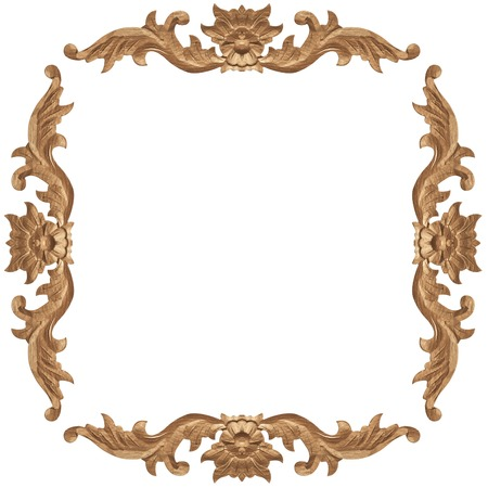 wood craft: Pattern of wood frame carve on white background Stock Photo