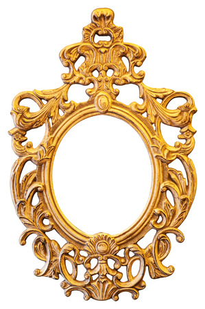 Gold ornate oval frame isolated on white background 스톡 콘텐츠