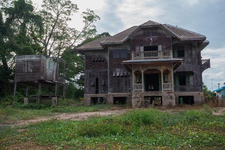 abandoned house window: abandoned old house on twilight