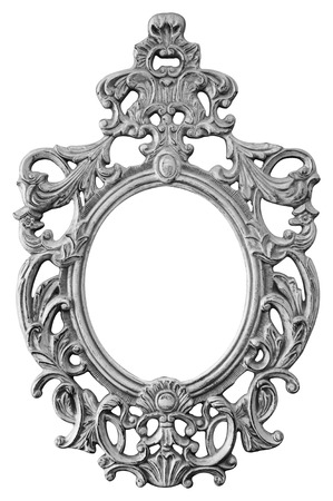 Silver ornate oval frame isolated on white background photo