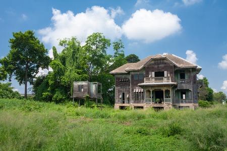 abandoned house window: abandoned old house at day Stock Photo