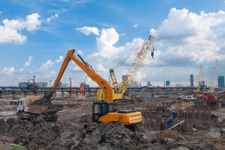 time lapse: The construction site. Construction of the new building. Construction cranes.