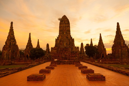 ayutthaya: Wat Chaiwattanaram, the historical temple in Ayutthaya, Thailand Stock Photo
