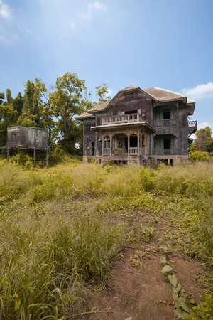 broken house: abandoned old house at day Stock Photo