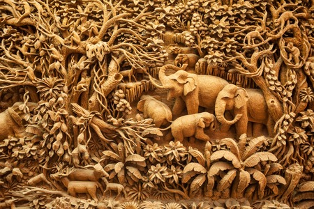 wood craft: Carved Thai elephant on the wood frame Stock Photo