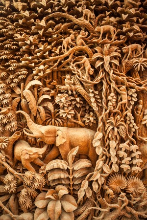 animals frame: Carved Thai animals on the wood frame