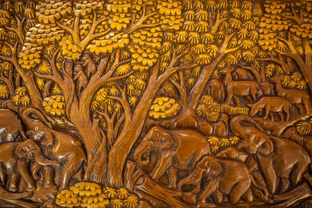carvings: Carved Thai elephant on the wood