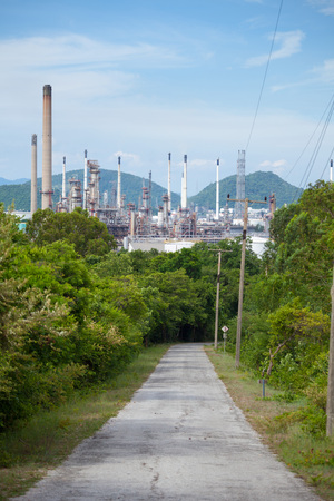 industrial industry: Industrial view at oil refinery plant form industry zone