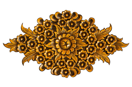 carvings: Pattern of wood carve flower on white background Stock Photo