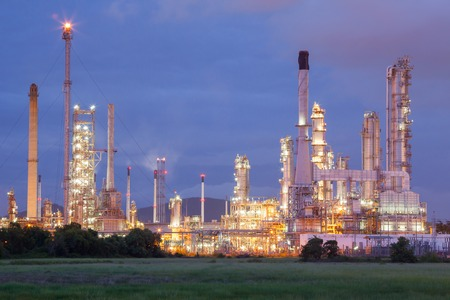 industry: Industrial view time lapse at oil refinery plant form industry zone