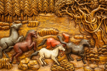 carvings: Carved Thai horse on the wood Stock Photo