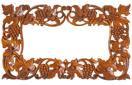carvings: Pattern of wood frame carve flower on white background