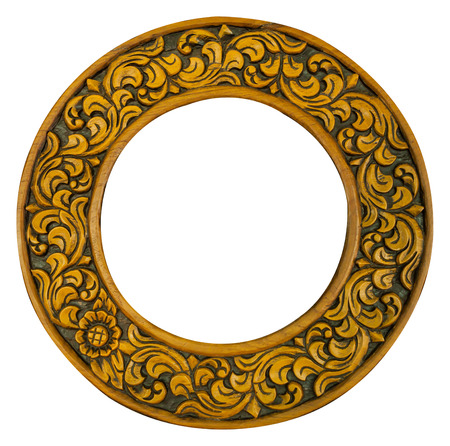 golden frame: carved oval wood frame isolated on white background Stock Photo
