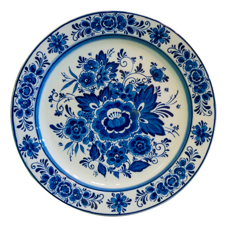 antique dishes: Painted plate isolated on white