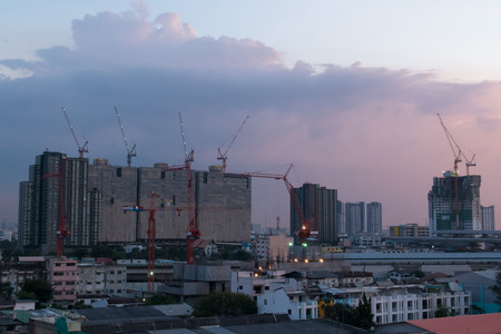 timelapse: The construction site. Construction of the new building. Construction cranes Stock Photo