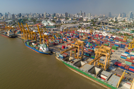 aerial: Aerial view of Industrial shipping port in Bangkok, Thailand