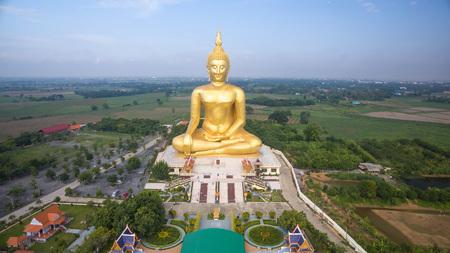 thai buddha: Aerial view of Big Buddha statue in Wat Muang,thailand Stock Photo