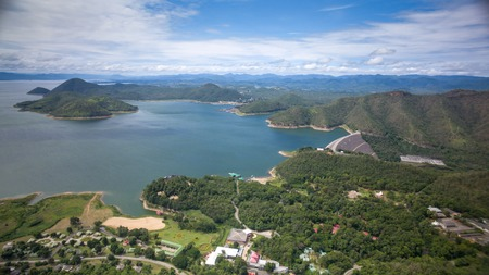 Aerial view of Srinagarind Dam in Kanchanaburi, Thailand Stock Photo