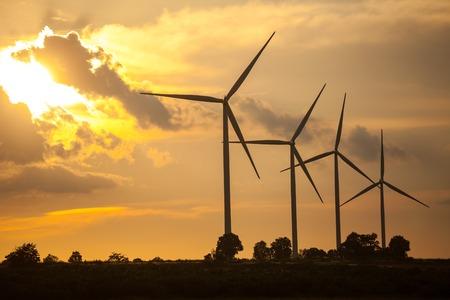 Close up of wind turbines