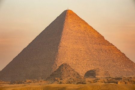 The Great pyramid on sunset in Giza, Egypt Stock Photo