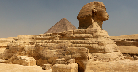 sphinx and great pyramids at giza cairo egypt stock photo picture