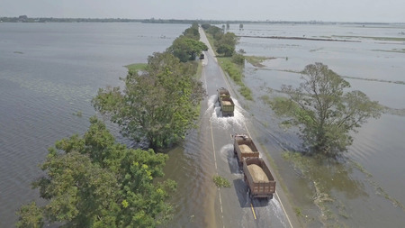 Aerial view of flood in Ayutthaya Province,Thailand