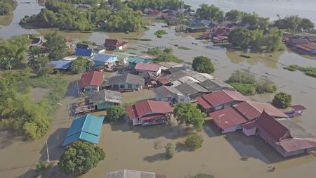 Vista aérea de la inundación en la provincia de Ayutthaya, Tailandia.