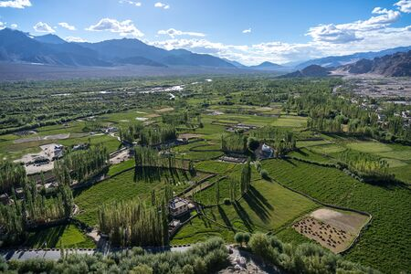 Aerial view of Leh city in Leh, Ladakh, India