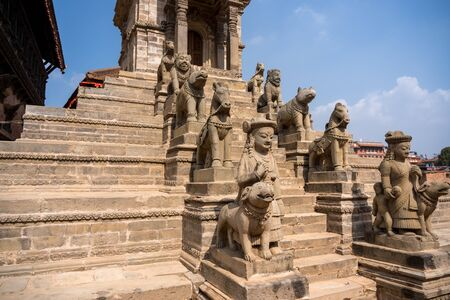 Old buddhistic statues on Bhaktapur Square. Kathmandu, Nepal