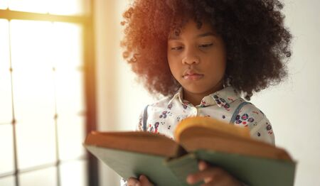 African Girl reading text book in home