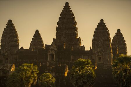 Sunrise at Temple of Angkor Wat in Siem Reap, Cambodia Stock Photo
