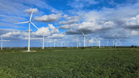 Aerial view of wind turbines in the fields, Thailand