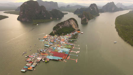 Aerial view of Ko Panyi is a fishing village in Phang Nga Province, Thailand