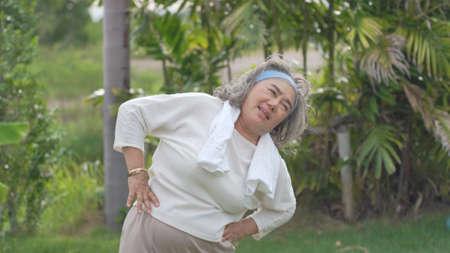 Senior asian Woman Exercise Park Outdoors 스톡 콘텐츠