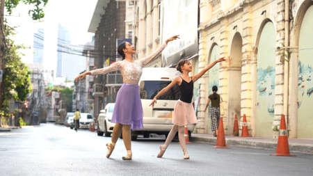 Ballet Dancer Training School in the street