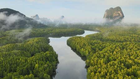 Aerial view of Samet Nangshe Viewpoint in Phang Nga, Thailand