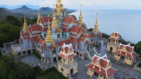 Aerial view of Wat Tang Sai Temple in Ban Krut, Bang Saphan, Prachuap Khirikhan, Thailand