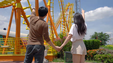Asian Couple Dating Fun Park Enjoyment Amusement