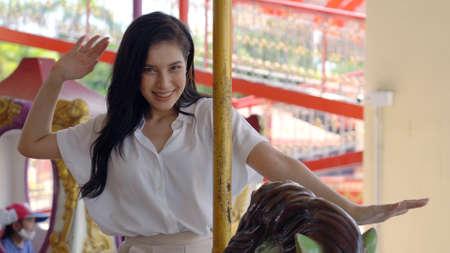 A woman Fun Park Enjoyment Amusement Standard-Bild