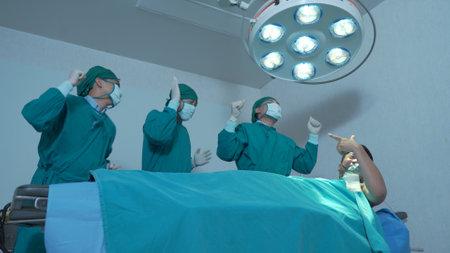 Professional medical doctor team dancing in hostipal