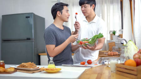 Asian gay couple homosexual cooking together in the kitchen Standard-Bild