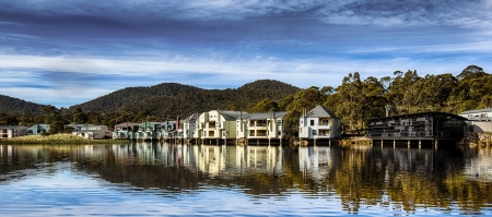 accommodation: Holiday Accommodation on a Mountain Lake Stock Photo
