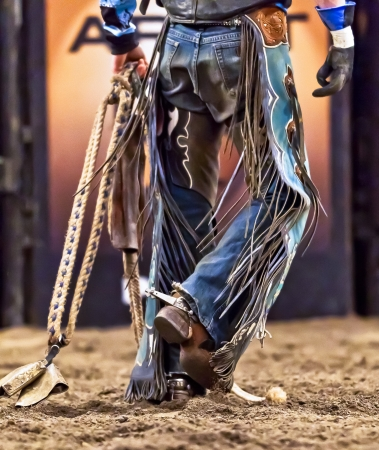 rodeo cowboy: Cowboy After Riding a Bull in a Professional Rodeo