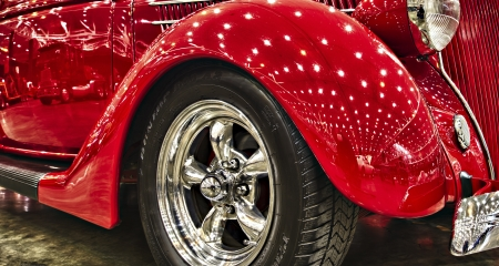 mag: Red Classic Hotrod Car Editorial
