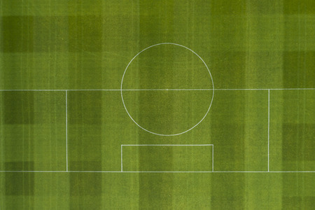 The line markings from above of a full size soccer pitch.