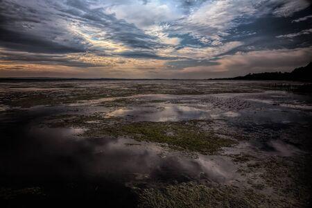 A large tidal lake at sunset.