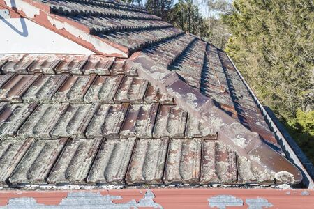Terracotta Roof Tiles in poor condition on a house