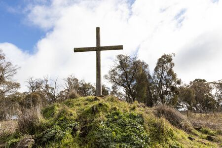 Christian wooden crosses in the Australian outback in a grassy field